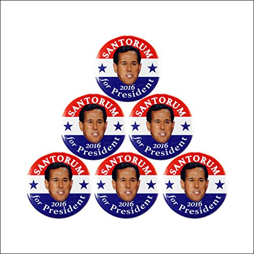 "6-pack, 2016 RICK SANTORUM for PRESIDENT CAMAPAIGN BUTTON, 2.25"" 6 pieces"