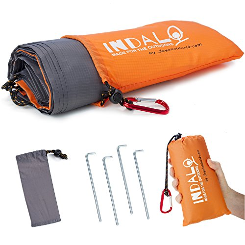 Indalo 79x56-Inch Waterproof, Sandproof Blanket with Stakes, Emergency Rain Hood and Carabiner in a Compact Travel Bag (All Weather Travel Blanket)