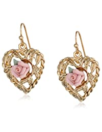 """1928 Jewelry """"Porcelain Rose Collection"""" Gold Tone Pink Porcelain Rose Heart Drop Earrings"""