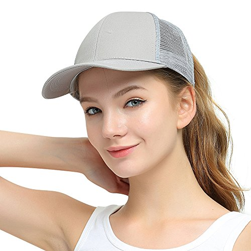 Womens Ponytail Messy High Buns Trucker Ponycaps Plain Baseball Visor Cap Dad Hat Adjustable Snapback