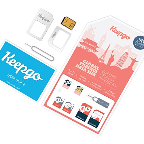 Keepgo Global Lifetime 4G LTE Data SIM Card for Europe, Asia & The Americas + 1GB Credit (Best Prepaid Cell Phone Canada)
