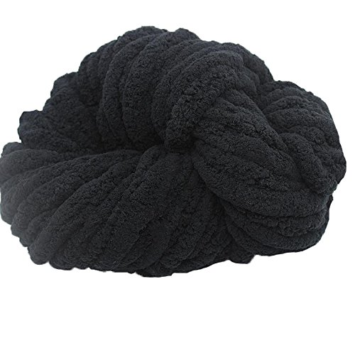 Bulk Chenille Chunky Yarn,Blanket Making Kit,Black 250g Chenille Knitting Yarn,Arm Knitting Kit,Chunky Knit Blanket Yarn,Jumbo Knitting Yarn