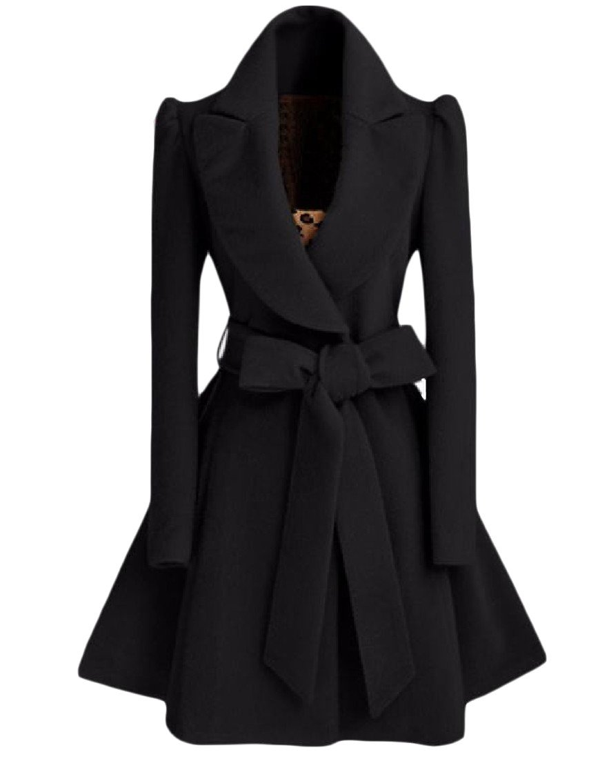 Zimaes-Women Custom Fit Fold-Collar Belted Woolen Long Trench Coat Black XS