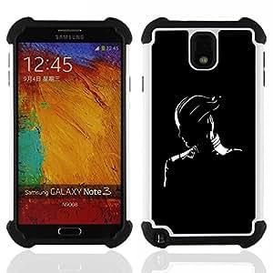 For Samsung Galaxy Note3 N9000 N9008V N9009 - Black & White Fantasy Character Dual Layer caso de Shell HUELGA Impacto pata de cabra con im??genes gr??ficas Steam - Funny Shop -