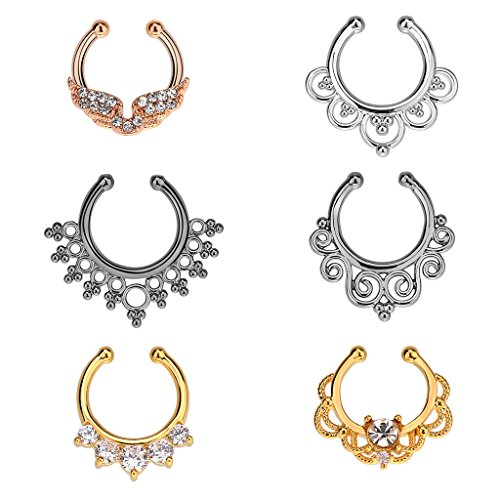 IPINK Fake Septum Clicker Crystal Nose Hoop Ring Non Piercing Clip on Jewelry Pack of 6