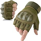AXBXCX Touch Screen Military Rubber Hard Knuckle Tactical Gloves Half Finger Hunting Cycling Motorcycle Training Army Shooting Motorbike Airsoft Paintball Gloves Green L
