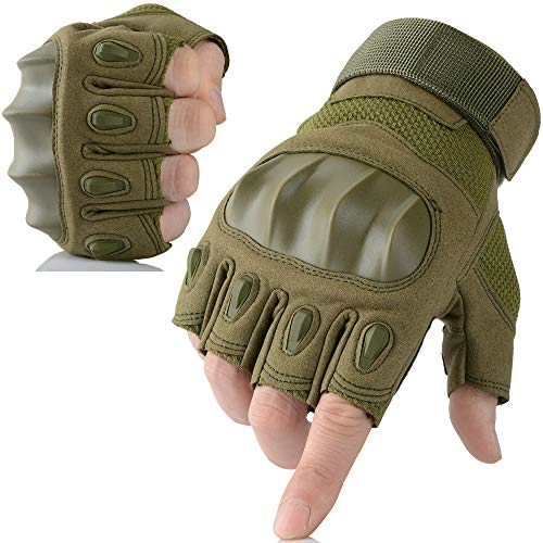 AXBXCX Touch Screen Military Rubber Hard Knuckle Tactical Gloves Half Finger Hunting Cycling Motorcycle Training Army Shooting Motorbike Airsoft Paintball Gloves Green L (Best Autumn Cycling Gloves)