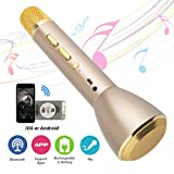 Portable Wireless Microphone Karaoke, Platinum Karaoke Player KTV with Wireless Bluetooth Speakers, Mini Handheld Cellphone Built-in Bluetooth Speaker, Karaoke Microphone Machine - Gloden
