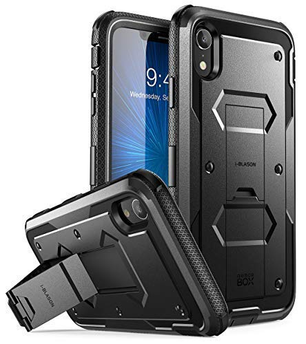 i-Blason Armorbox Series Case Designed for iPhone XR 2018 Release, [Built in Screen Protector] Full Body Heavy Duty Protection Kickstand Shock Reduction Case, Black, 6.1