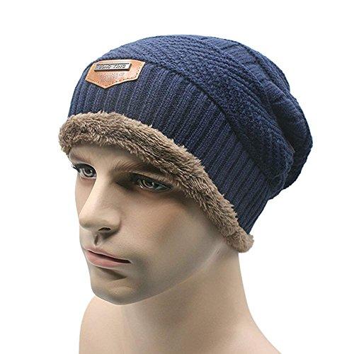 Gorro de esquí para hombre Butterme, cálido, suave, con forro grueso, lana gruesa, de uso diario Azul