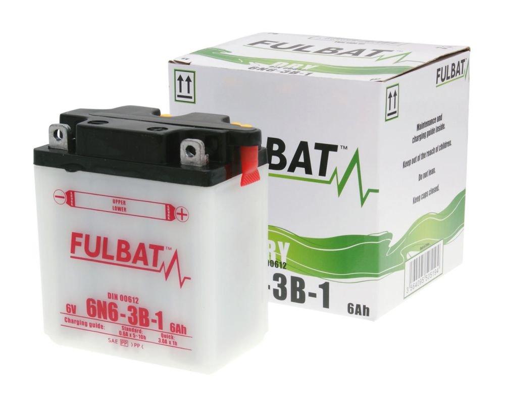 Batterie FULBAT 6V 6N6-3B-1 DRY inkl inkl.7.50 EUR Batteriepfand S/äurepack f/ür KAWASAKI KH125 K1-K6 125 ccm
