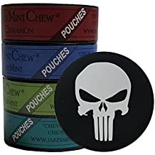Jake's Mint Chew Minty Sampler POUCHES - 4 Can Variety Pack - Includes DC Skin Can Cover (Punisher Skin)