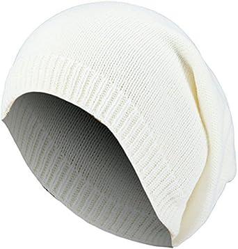 b3b5173785b495 Damen Herren Strickmütze fein Long Beanie Wintermütze lange Slouch Mütze  One Size Weiß