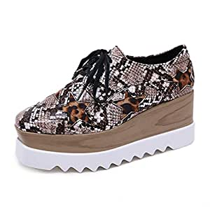 Women's Casual Shoes New Spring PU Wedges Platform Shoes Lace Up Low-Top Walking Shoes Comfort Loafers,A,36