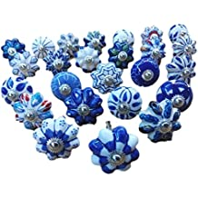 Set of 25 Blue and white hand painted ceramic pumpkin knobs cabinet drawer handles pulls