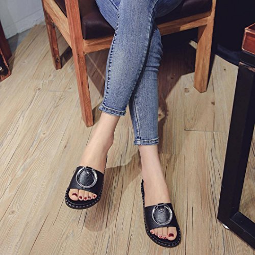 VEMOW Ladies Summer Beach Platform Slippers Casual Wedge Solid Low Heel Flats Flip Flops Sandals Women Ladies Girls School Sport Party Club Dancer Beach Shoes Black wSZY905x