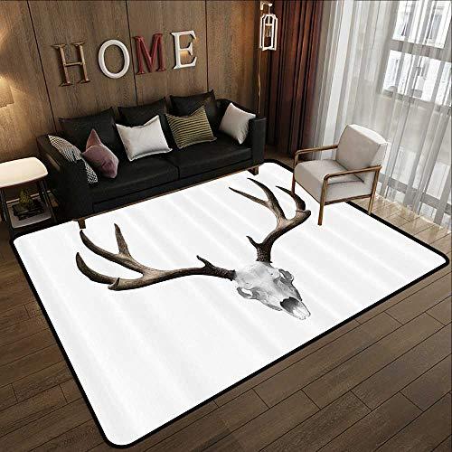 Kitchen Rugs Non Skid,Antlers Decor,A Deer Skull Skeleton
