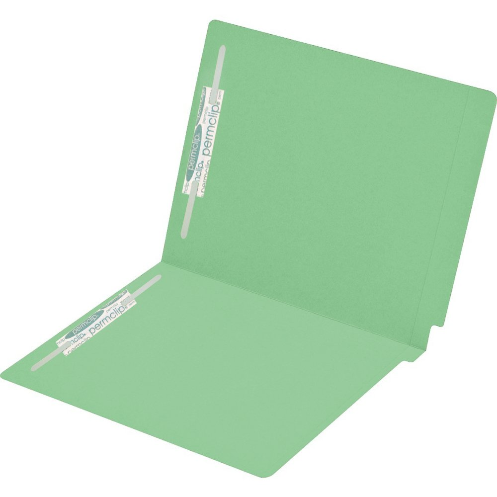 Medical Arts Press Match Colored End Tab File Folders with 2 Permclip Fasteners- Green, Letter Size, 15pt (250/Carton)