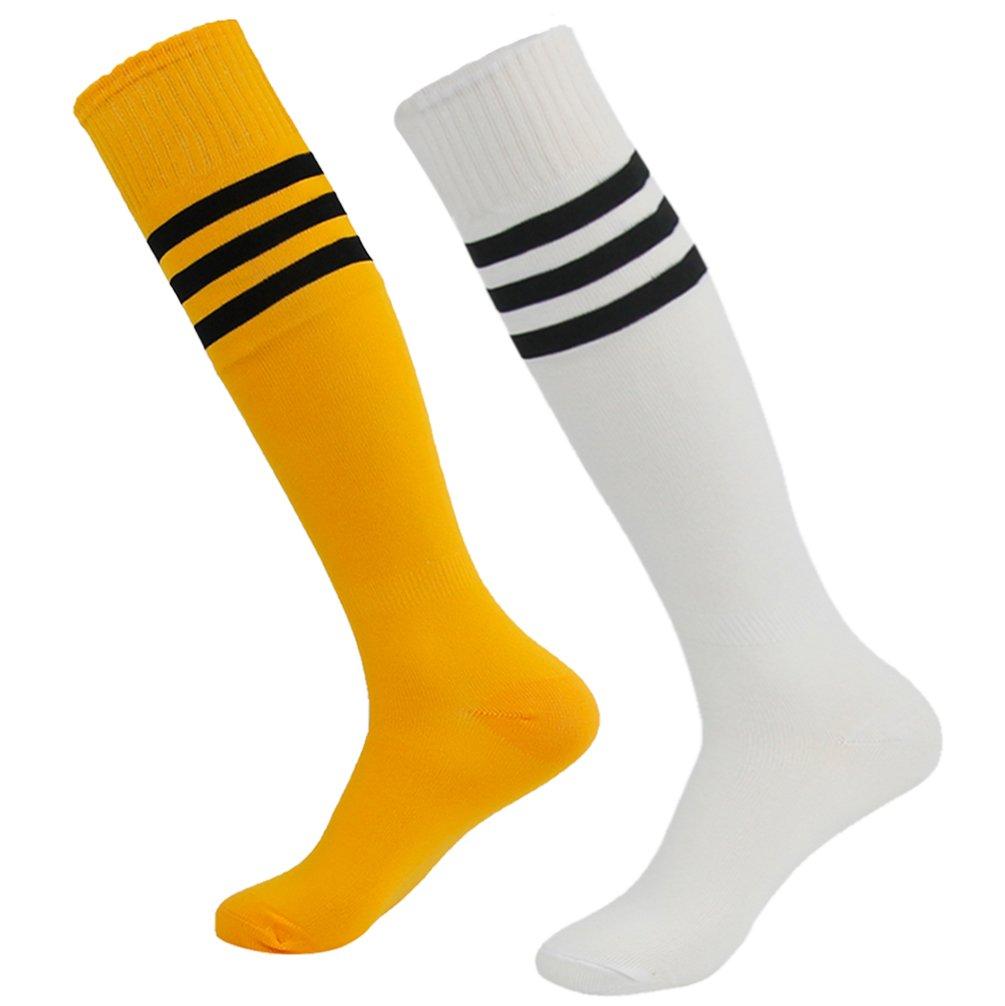 getsporユニセックスFootball Socks Knee HighアスレチックサッカーチューブSock 2 / 4 / 6 / 12ペア B077JLV7CG White and Orange 2 Pairs White and Orange 2 Pairs