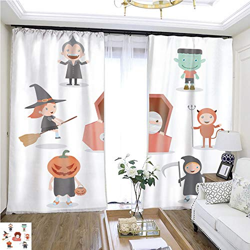 Window hangings Cute Kids Wearing Halloween Monster Costume on White Background W72 x L81 Lemon Linen Loop top Curtain Highprecision Curtains for bedrooms Living Rooms Kitchens -
