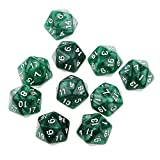 Pack of 10pcs Twenty Sided Dice D20 Playing Dungeons & Dragons D&D TRPG Games Green