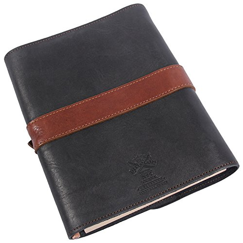 Leather Writing Journal Notebook Black Brown Refillable Unlined Pages by Col. Littleton (Image #2)
