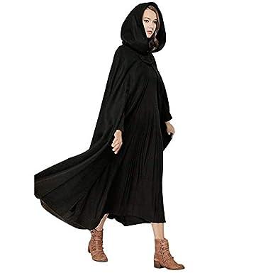 7c3c140ebf oboss Women's Cloak with Hood Open Front Loose Cape Shawl Wrap Poncho Coat  Long Cloak Winter