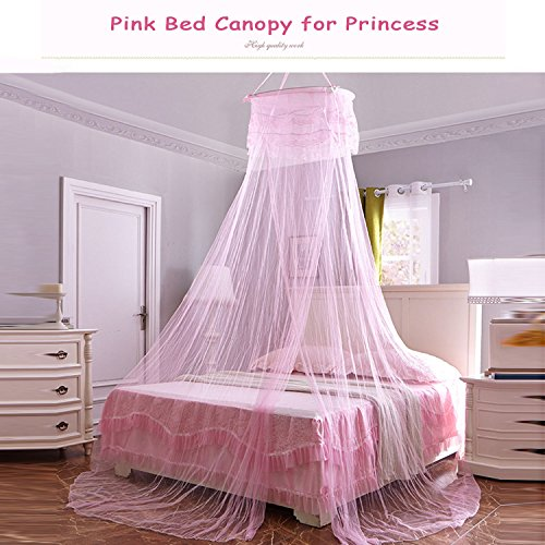 Yimii Round Dome Mosquito Net Princess Bed Canopy, Mosquito Netting Bed Curtains Hanging Canopy for Girls - Pink. by Yimii (Image #3)