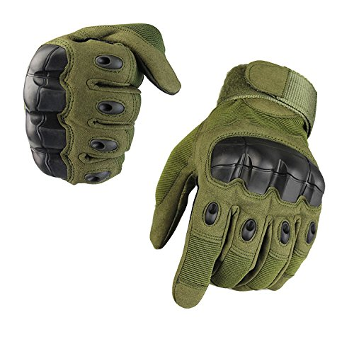 Fuyuanda Military Tactical Gloves Special Ops Full Finger Light Gloves,Motorcycle Cycling Outdoor Sports Gloves Olive Large