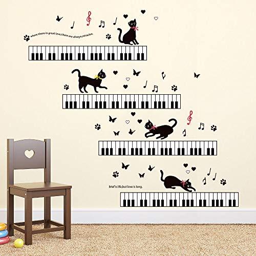 - ufengke Music Wall Stickers Piano Cat Wall Decals Art Decor for Girls Kids Bedroom Nursery