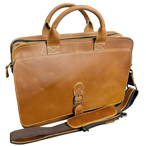 "Canyon Outback Texas Canyon 15"" Leather Computer Briefcase - Distressed Tan"