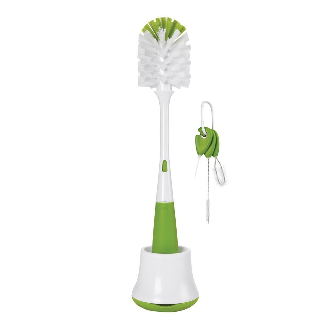 Gray Oxo Tot Bottle Brush With Nipple Cleaner And Stand