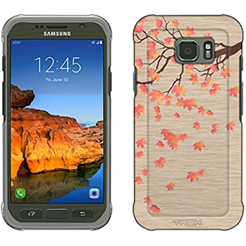 Samsung Galaxy S7 Active Case, Snap On Cover by Trek Falling Leaves on Wood Slim Case Sales