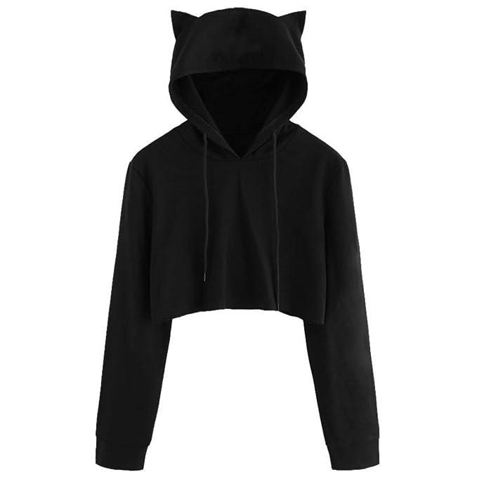Größe 40 0db95 a2c48 WOCACHI Hoodies, Damen Nette Katze Ohr Langarm Schwarz Kurz Sweatshirt Tops
