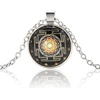 Sri Yantra Photo Cabochon Glass Tibet Silver Chain Pendant Necklace Gift LOVE STORY nogluck