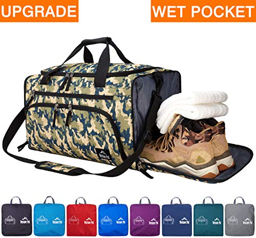 Venture Pal Packable Sports Gym Bag with Wet Pocket & Shoes Compartment Travel Duffel Bag for men and Women-Light Green Camo