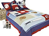 LELVA Children's Bedspreads Set Sports Bedding Kids Bedding Boys Basketball Baseball Soccer Quilt Set Twin 2 Piece