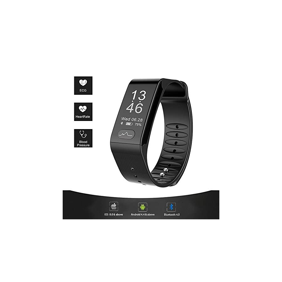 Fitness Tracker, Smart ECG Heart Rate Blood Pressure Monitor, IP66 Waterproof Smart Wristband Large Screen(0.96'')with Sleep Monitor,Sport Step Bracelet, Stay Healthy for Android 4.4 or IOS8.0(Black)