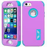 iPhone 5S/SE Case, MCUK [Full-Body] [Heavy Duty] [Shock Resistant] [Armor Series] 3 in 1 High Impact Soft TPU Hard PC Tough Rugged Combo Defender Cover Case for Apple iPhone 5S/SE (Purple-Blue)