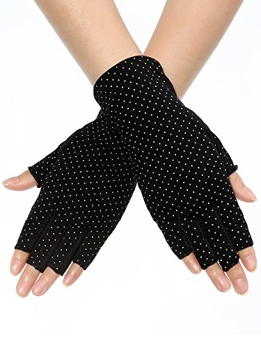 Maxdot Sunblock Fingerless Gloves Non-slip UV Protection Driving Gloves Summer Outdoor Gloves for Women and Girls (Black) ()
