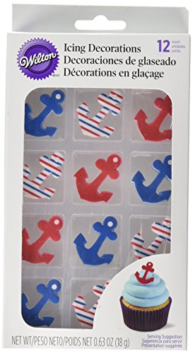 Wilton 710-7244 Nautical Theme Anchor Edible Cupcake -