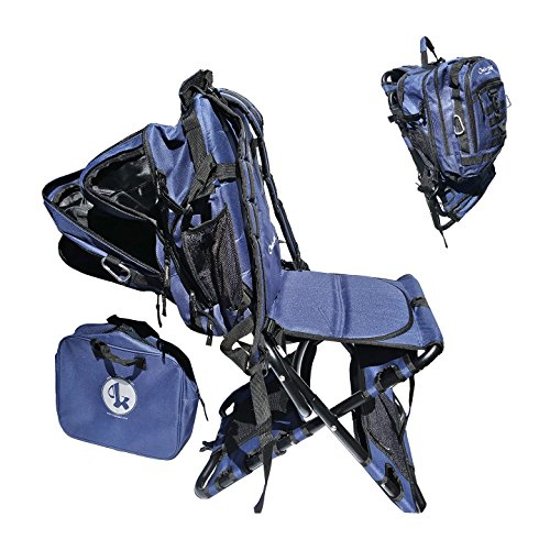 Chair-Pak Best Backpack Chair Folding Fishing Chair Lightweight Comfortable Rugged Portable Easy to Use with Cooler - NAVY ()