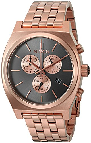 Nixon Men's 'Time Teller Chrono' Quartz Stainless Steel Casual Watch, Color:Rose Gold-Toned (Model: A9722046-00) - Rose Gold Nixon Watch Mens