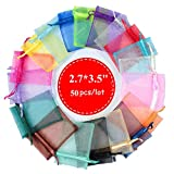 4EAELove Organza Bags 50Pcs 2.7 X 3.5 inches Sheer Drawstring Organza Jewelry Pouches Wedding Party Christmas Favor Candy Gift Bags (2.7''X3.5'' 100PCS, Multi-Colored)