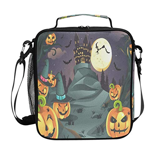 Halloween Pumpkins Lunch Bag Womens Insulated Lunch Tote Containers Zipper Square Lunch Box for Kids Men ()