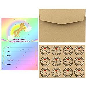 Aytai 20pcs Rainbow Unicorn Birthday Invitations with Envelopes + Thank You Tags, Party Invitation Cards for Kids Birthday Baby Shower Unicorn Party Supplies (Cloud)