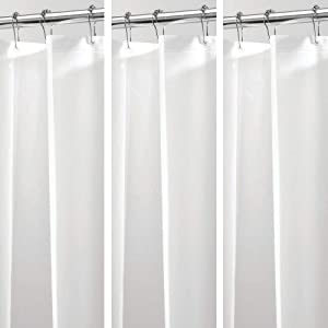 mDesign Plastic, Waterproof, Mold/Mildew Resistant, PEVA Shower Curtain Liner for Bathroom Showers and Bathtubs - No Odor - 3 Gauge, 72 inches x 72 inches - 3 Pack - White