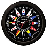 Trintec Atlantic Nautical Flag Time & Tide Indicator Clock Massive 14'' Round Black Dial TT-02-NF-14