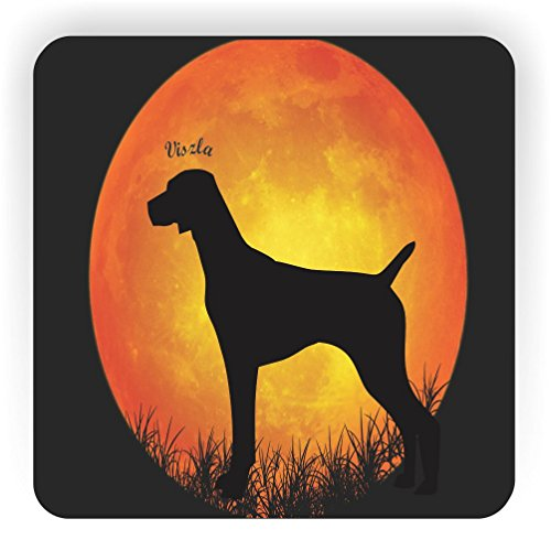 Rikki Knight Viszia Dog Silhouette By Moon Design Square Fridge Magnet (Dog Silhouette Magnet)