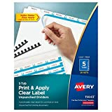 Avery Print & Apply Clear Label Unpunched Dividers, Index Maker Easy Apply Printable Label Strip, 5 White Tabs, 25 Sets, Case Pack of 6 (11433)